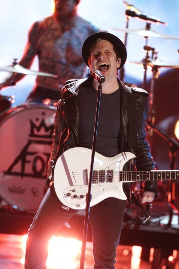 Lead singer of Fall Out Boy belts out.