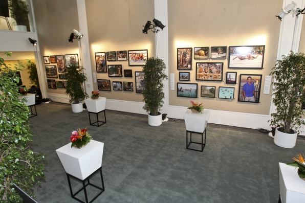 A view of the wall of photographs