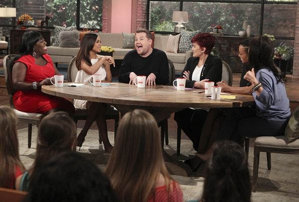 James Corden is all smiles with the ladies