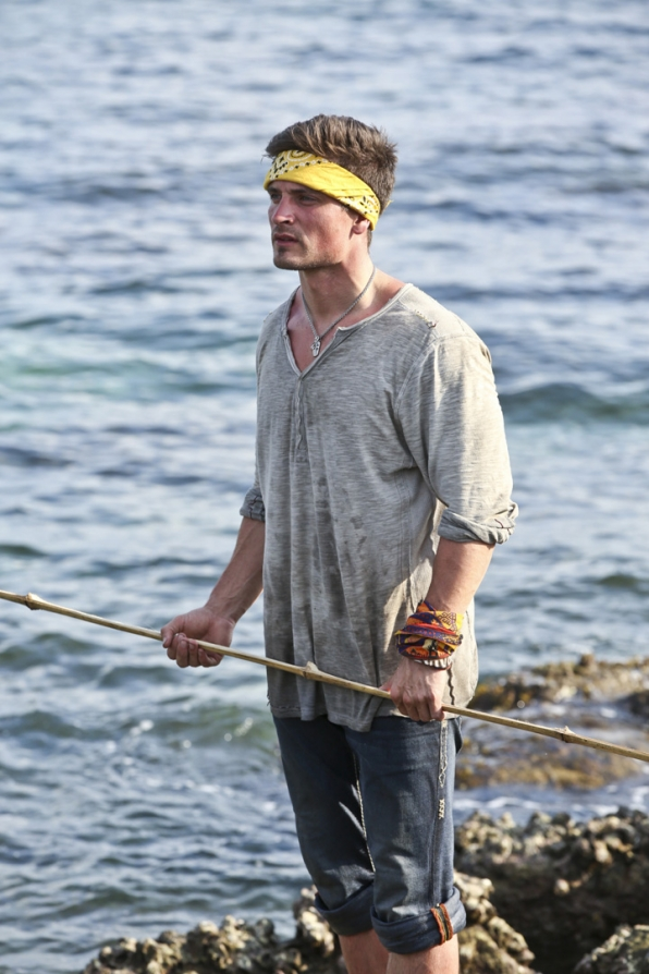 Caleb hits the shore to reflect before this season's second Immunity Challenge.