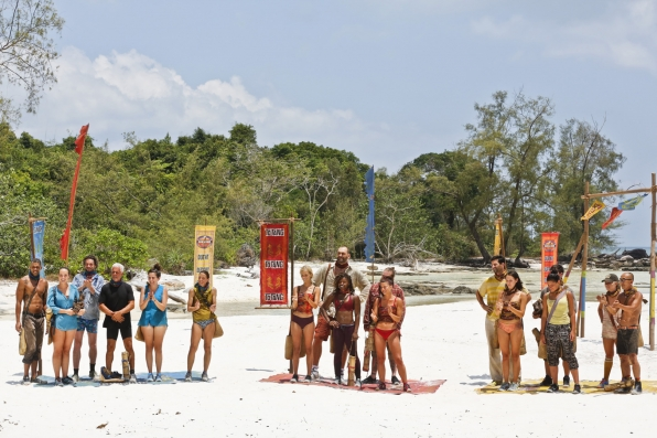 The three tribes wait for host Jeff Probst to explain the challenge.