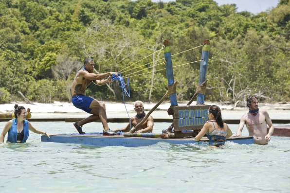 Peter aims for the target in hopes that his tribe wins Immunity this week.
