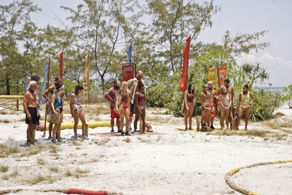 The three tribes await their challenge instructions from host Jeff Probst.