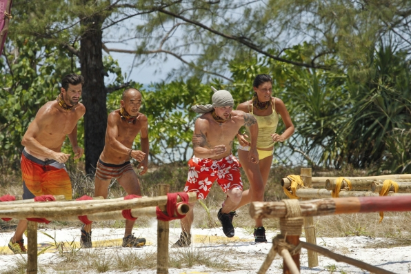 Caleb leads the pack as the castaways sprint toward the first part of the challenge.