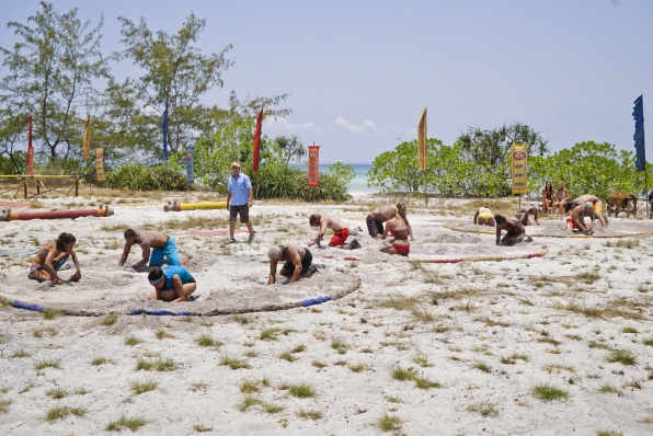 Host Jeff Probst watches each tribe try to tackle this grueling challenge.