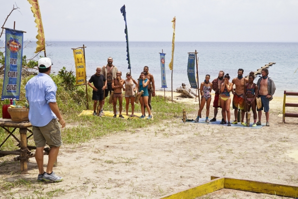 Jeff welcomes the tribes to their next Reward Challenge.