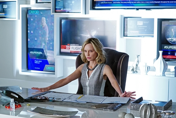 Calista Flockhart as Cat Grant in Supergirl.