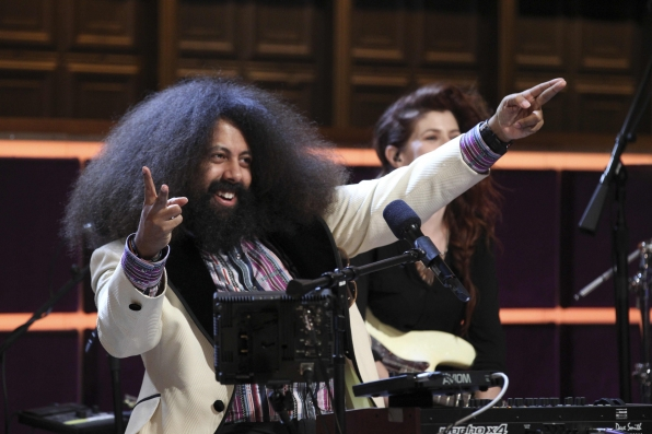Reggie Watts strikes his showbiz pose.