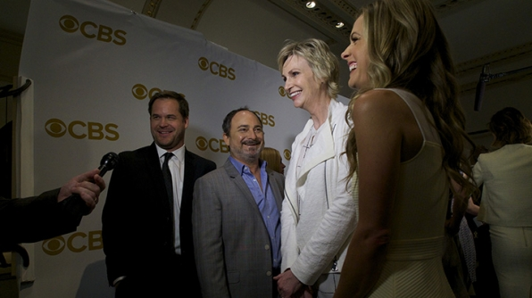 Kyle Bornheimer, Kevin Pollak, Maggie Lawson, and Jane Lynch on the red carpet.