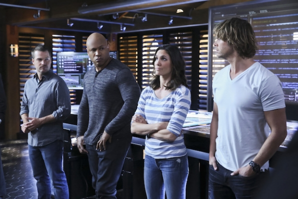 Chris O'Donnell as G. Callen, LL COOL J as Sam Hanna, Eric Christian Olsen as Marty Deeks, and Daniela Ruah as Kensi Blye