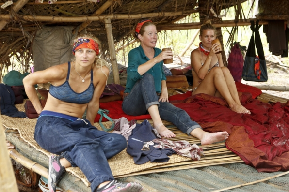Kelley, Kass, and Abi-Maria lounge around camp