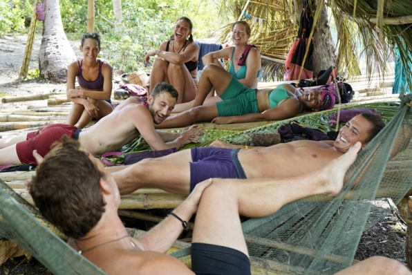 The Bayon Tribe kick back before an intense Immunity Challenge
