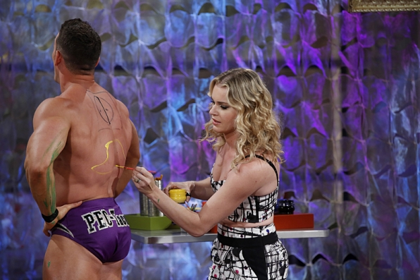 Rebecca Romijn painted on Mr. PEC-Tacular