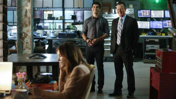 Katharine McPhee as Paige Dineen, Elyes Gabel as Walter O'Brien, and Robert Patrick as Agent Cabe Gallo
