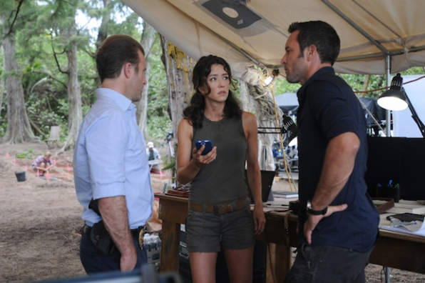 "Scott Caan as Danny ""Danno"" Williams, Vedette Lim as Dr. Isabelle Lono, and Alex O'Loughlin as Steve McGarrett"