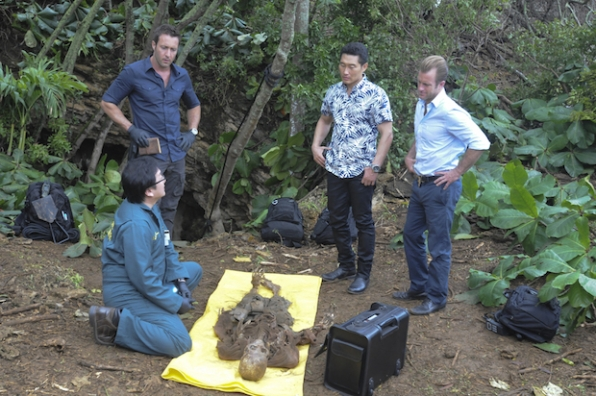 "Masi Oka as Dr. Max Bergman, Alex O'Loughlin as Steve McGarrett, Daniel Dae Kim as Chin Ho Kelly, and Scott Caan as Danny ""Danno"" Williams"