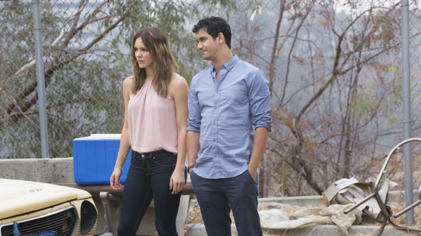 Katharine McPhee as Paige Dineen and Elyes Gabel as Walter O'Brien