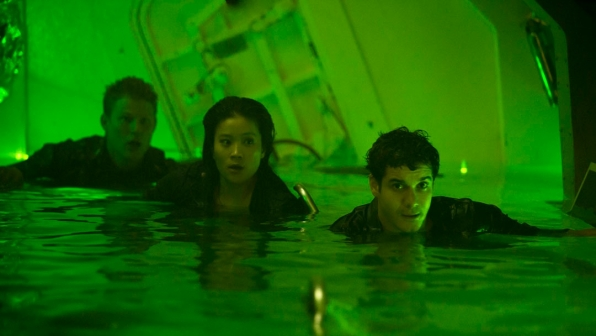 Jadyn Wong as Happy Quinn and Elyes Gabel as Walter O'Brien