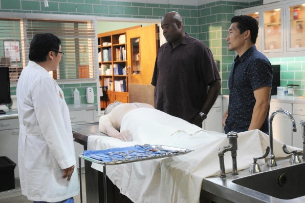 Masi Oka as Dr. Max Bergman, Chi McBride as Captain Lou Grover, and Daniel Dae Kim as Chin Ho Park