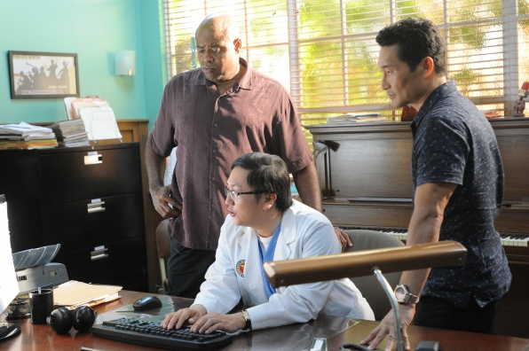 Chi McBride as Captain Lou Grover, Masi Oka as Dr. Max Bergman, and Daniel Dae Kim as Chin Ho Park