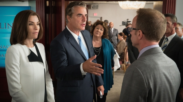 Julianna Margulies as Alicia Florrick, Chris Noth as Peter Florrick, and Margo Martindale as Ruth Eastman