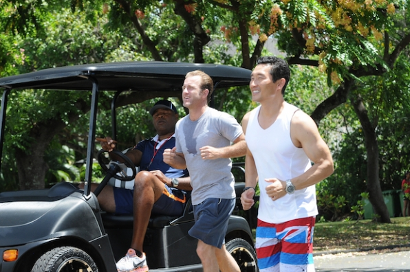 "Daniel Dae Kim as Chin Ho Kelly, Scott Caan as Danny ""Danno"" Williams and Chi McBride as Captain Lou Grover"