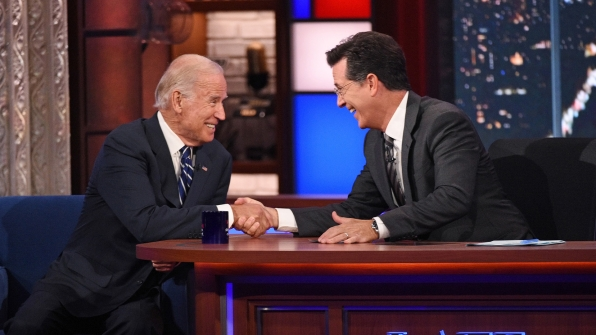 Joe Biden and Stephen Colbert