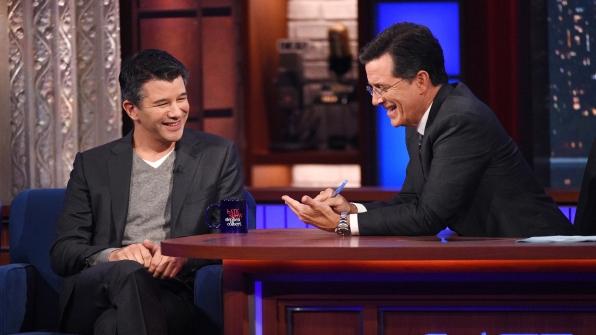 Travis Kalanick and Stephen Colbert