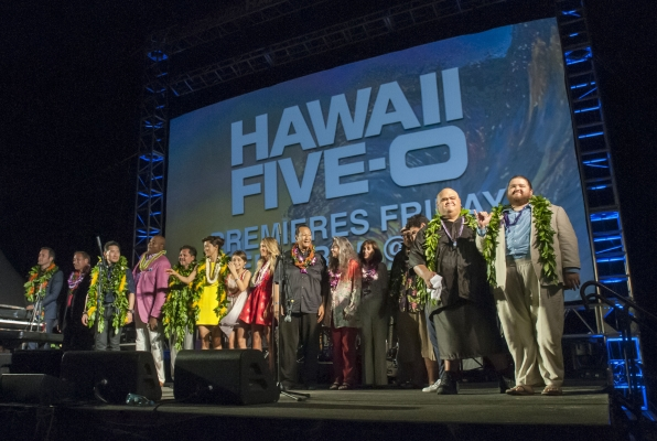 "Annual ""Sunset On The Beach"" in Waikiki held Saturday, Sept. 12, 2015, at Queens Surf Beach in Honolulu. Thousands of Oahu residents and visitors gathered to watch the Season 6 premiere of Hawaii Five-0, ""Mai Ho'oni I Ka Wai Lana Mâlie."""