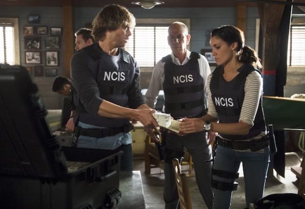 Eric Christian Olsen as Marty Deeks, Miguel Ferrer as NCIS Assistant Director Owen Granger, and Daniela Ruah as Kensi Blye