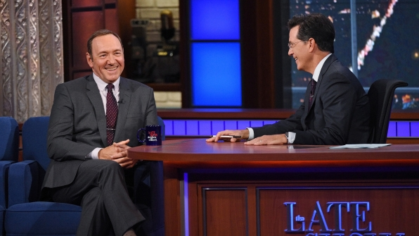 Kevin Spacey and Stephen Colbert