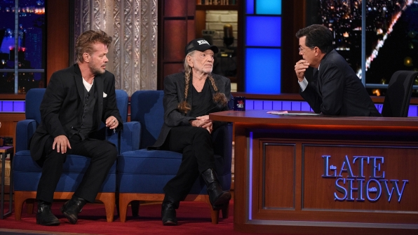 John Mellencamp, Willie Nelson, and Stephen Colbert