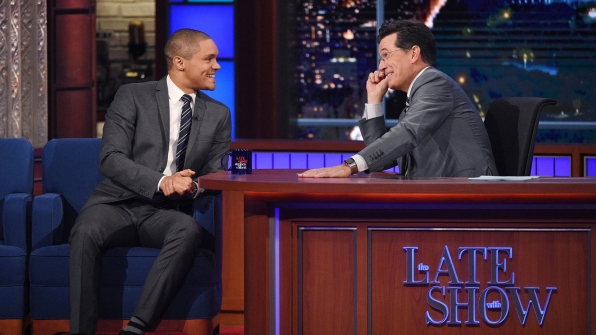 Trevor Noah and Stephen Colbert