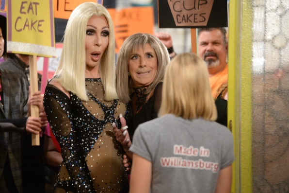 Cher and Barbra Streisand impersonators confront Caroline