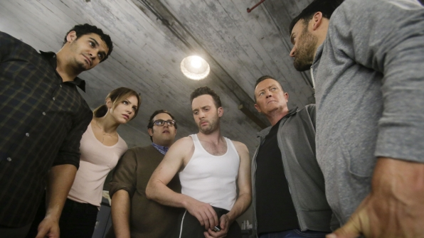 Elyes Gabel as Walter O'Brien, Katharine McPhee as Paige Dineen, Ari Stidham as Sylvester Dodd, Eddie Kaye Thomas as Toby Curtis, and Robert Patrick as Agent Cabe Gallo