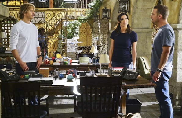 Eric Christian Olsen as Marty Deeks, Daniela Ruah as Kensi Blye, and Chris O'Donnell as G. Callen