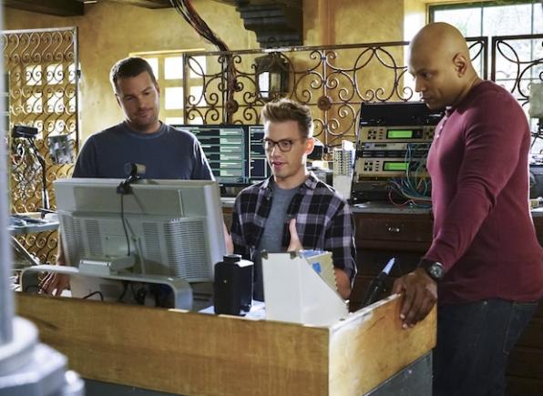 Chris O'Donnell as G. Callen, Barrett Foa as Eric Beale, and LL COOL J as Sam Hanna