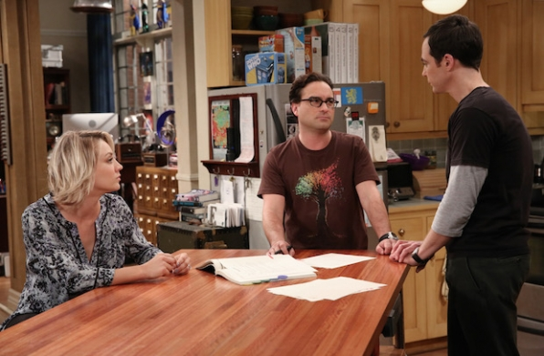 Sheldon, Penny, and Howard discuss their living arrangements