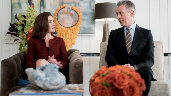 Julianna Margulies as Alicia Florrick and Alan Cumming as Eli Gold