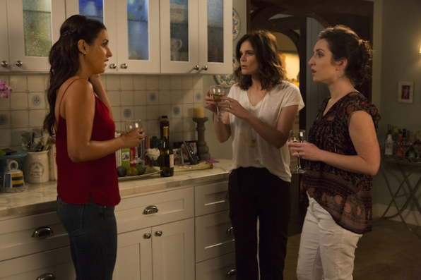 Heather, Jen, and Colleen spend some wine time in the kitchen