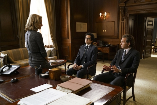 Téa Leoni as Elizabeth McCord, Geoffrey Arend as Matt Mahoney, and Sebastian Arcelus as Jay Whitman