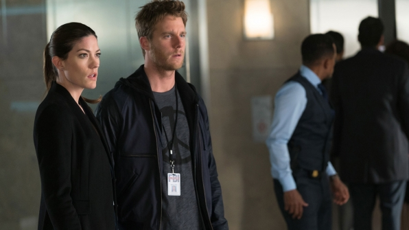 Jennifer Carpenter as Agent Rebecca Harris and Jake McDorman as Brian Finch