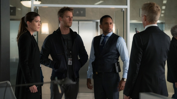 Jennifer Carpenter as Agent Rebecca Harris, Jake McDorman as Brian Finch, and Hill Harper as Spelman Boyle