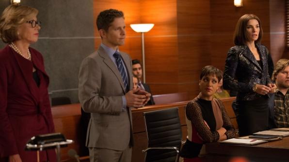 Matt Czuchry as Cary Agos, Christine Baranski as Diane Lockhart, Cush Jumbo as Lucca Quinn, and Julianna Margulies as Alicia Florrick