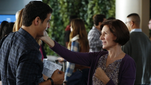 Elyes Gabel as Walter O'Brien and Pamela Shafer as Louise O'Brien