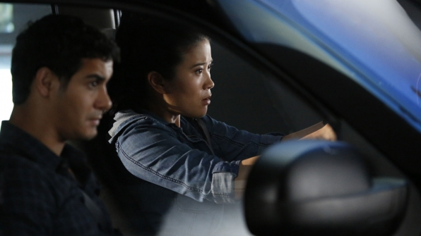 Elyes Gabel as Walter O'Brien and Jadyn Wong as Happy Quinn