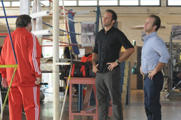 "Larry Manetti as Nicky ""The Kid"" DeMarco, Alex O'Loughlin as Steve McGarrett, and Scott Caan as Danny ""Danno"" Williams"