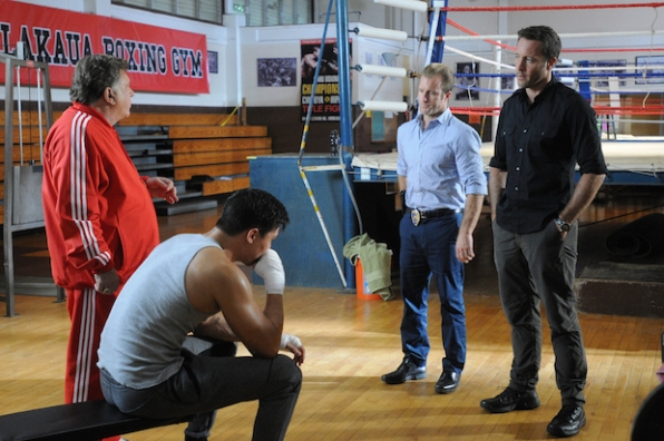 "Lewis Tan as Luke Nakano and Larry Manetti as Nicky ""The Kid"" DeMarco, Scott Caan as Danny ""Danno"" Williams, and Alex O'Loughlin as Steve McGarrett"