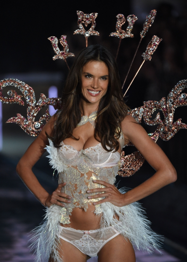 Alessandra Ambrosio dazzles a pastel number with bejeweled wings