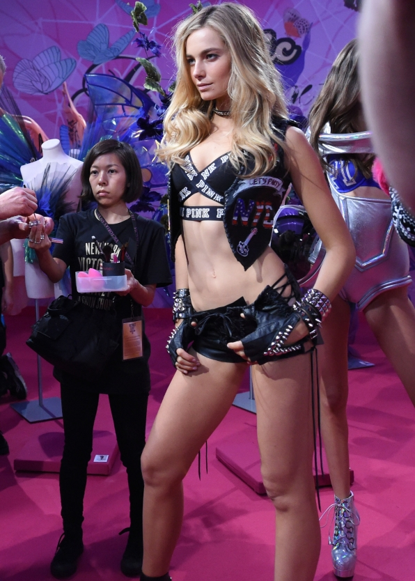Bridget Malcolm hits her mark before walking in the VS show's Boho Psychedelic segment